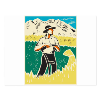 farmer with scythe standing field retro postcard