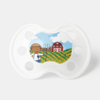 Farmer working in the farmland pacifier