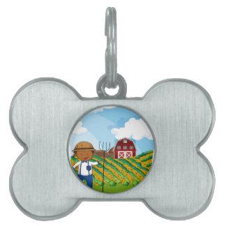 Farmer working in the farmland pet tag