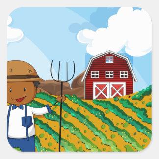 Farmer working in the farmland square sticker