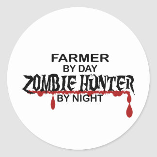 Farmer Zombie Hunter Classic Round Sticker