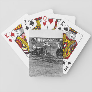 Farmerettes guiding tractors._War image Playing Cards