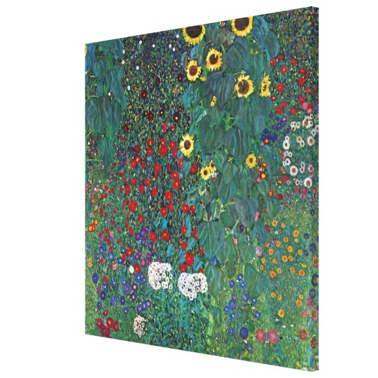 Farmergarden w Sunflower by Klimt, Vintage Flowers Canvas Print