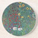 Farmergarden w Sunflower by Klimt, Vintage Flowers Beverage Coasters