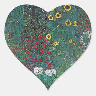 Farmergarden w Sunflower by Klimt, Vintage Flowers Heart Sticker