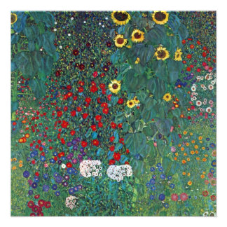 Farmergarden w Sunflower by Klimt Vintage Flowers Personalized Announcement