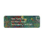 Farmergarden w Sunflower by Klimt, Vintage Flowers Return Address Labels