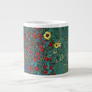 Farmergarden w Sunflower by Klimt, Vintage Flowers Large Coffee Mug