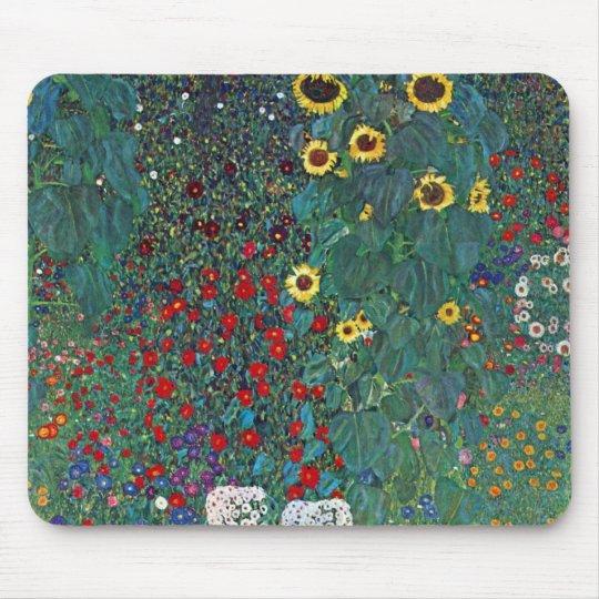 Farmergarden w Sunflower by Klimt, Vintage Flowers Mouse Pad