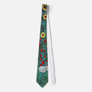 Farmergarden w Sunflower by Klimt, Vintage Flowers Neck Tie