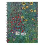Farmergarden w Sunflower by Klimt, Vintage Flowers Note Book