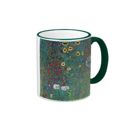 Farmergarden w Sunflower by Klimt, Vintage Flowers Ringer Coffee Mug