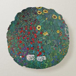 Farmergarden w Sunflower by Klimt, Vintage Flowers Round Pillow