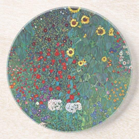 Farmergarden w Sunflower by Klimt, Vintage Flowers Sandstone Coaster