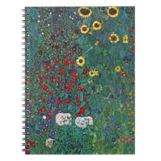 Farmergarden w Sunflower by Klimt, Vintage Flowers Spiral Notebook
