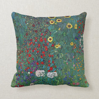 Farmergarden w Sunflower by Klimt, Vintage Flowers Throw Pillow