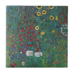 "Farmergarden w Sunflower by Klimt, Vintage Flowers Tile<br><div class=""desc"">Farmergarden with Sunflower (1905/06) by Gustav Klimt is a vintage Victorian Era Symbolism fine art floral painting. A nature scene with a variety of flowers and sunflowers in a garden on a farm. About the artist: Gustav Klimt (1862-1918) was an Austrian Symbolist painter and one of the most prominent members...</div>"