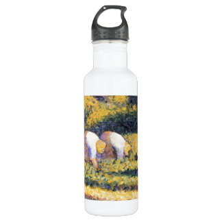 Farmers at work by Georges Seurat Stainless Steel Water Bottle
