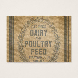 Farmers Dairy Poultry Feed Sack Burlap Business Card