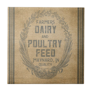 Farmers Dairy Poultry Feed Sack Burlap Ceramic Tile