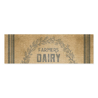 Farmers Dairy Poultry Feed Sack Burlap Mini Business Card
