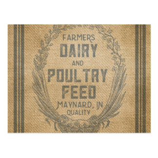 Farmers Dairy Poultry Feed Sack Burlap Postcard