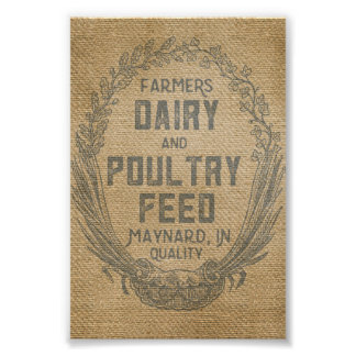 Farmers Dairy Poultry Feed Sack Burlap Poster