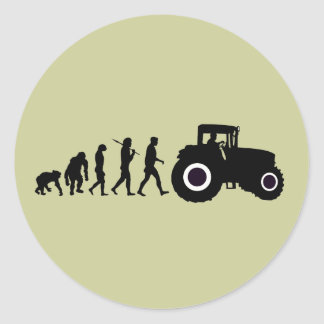 Farmers Evolution of Farming Farm Tractor Drivers Classic Round Sticker