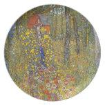 Farmers garden with crucifix by Gustav Klimt Dinner Plate