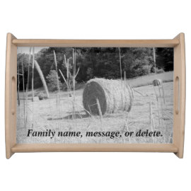 Farmers Hay Field Scene B&W Round Bales in Summer Serving Tray