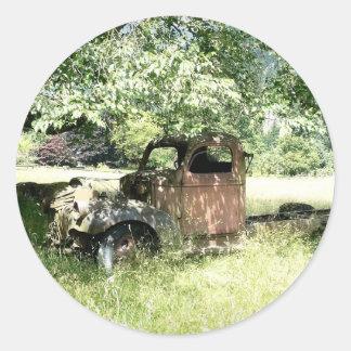 Farmer's Junky Truck Rusting Away Classic Round Sticker