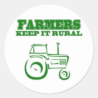 Farmers Keep It Rural Round Sticker