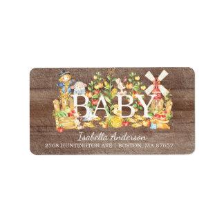 Farmers Market Baby Shower Address Label
