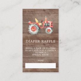 Farmers Market Baby Shower Diaper Raffle Ticket Enclosure Card