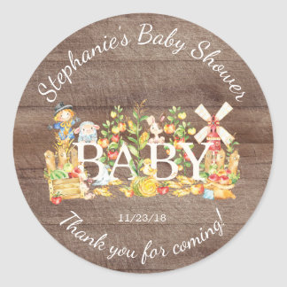 Farmers Market Baby Shower Favor Sticker