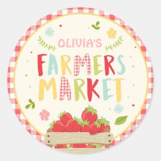 Farmers market birthday Strawberries Favor Tags