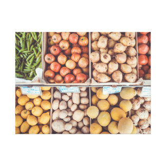 Farmer's Market: Bounty of Fruits and Vegetables Canvas Print