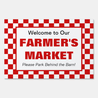 Farmer's Market, Country Style Event Red White Yard Sign
