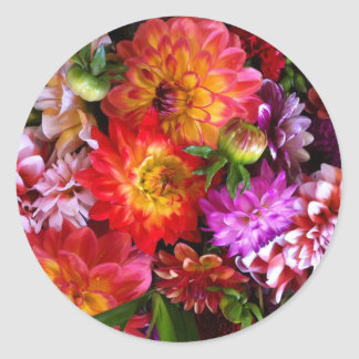 Farmers market flowers round stickers