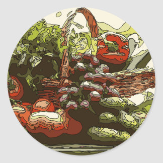 Farmers Market Fresh Fruits and Vegetables Classic Round Sticker