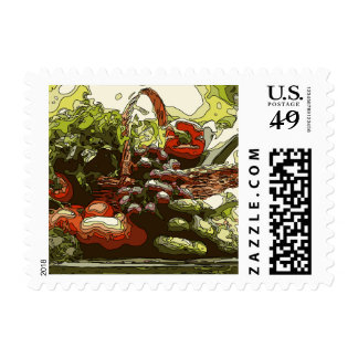 Farmers Market Fresh Fruits and Vegetables Postage Stamps