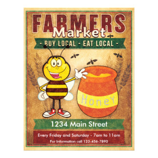 Farmers Market Fresh Local Honey Flyer