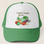 "Farmers Market Hat<br><div class=""desc"">Veggie hat with &#39;Support locally grown&#39;.</div>"