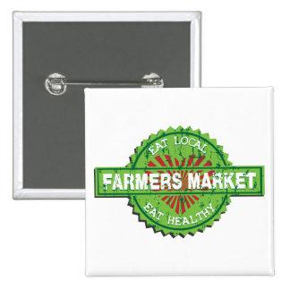Farmers Market Heart 2 Inch Square Button