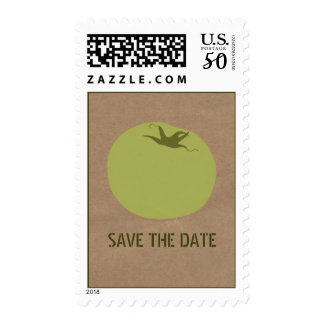 Farmers Market Inspired Save The Date Green Tomato Postage