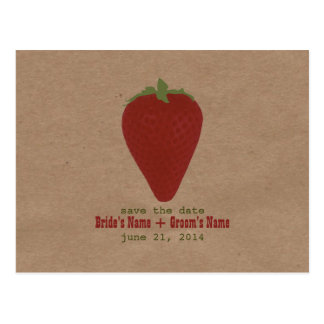 Farmers Market Inspired Save The Date | Strawberry Postcard