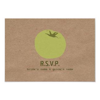 "Farmers Market Inspired Wedding RSVP Green Tomato 3.5"" X 5"" Invitation Card"