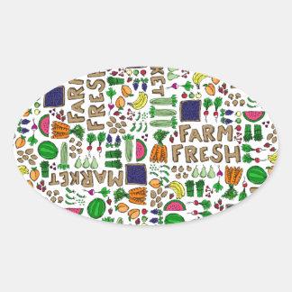 Farmer's Market Medley Oval Sticker