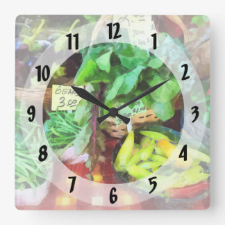 Farmer's Market - Peppers and String Beans Square Wall Clock