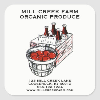 Farmers Market Product Labels Vintage Art Tomatoes
